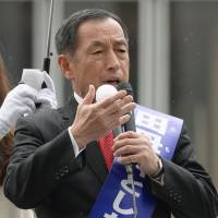 Working the crowd: Tokyo gubernatorial candidate Toshio Tamogami makes a campaign speech Sunday in Ginza. | KYODO