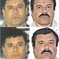 These photos show ID mapping carried out by the Attorney General of Mexico's Office, pinpointing similarities in images of Joaquin 'El Chapo' Guzman between his 1993 arrest (left) and recapture, 13 years later, on Saturday.   AP