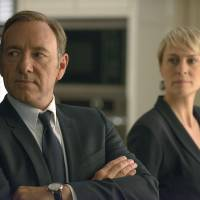 Net gain: Kevin Spacey and Robin Wright are seen this image from 'House of Cards.'   AP
