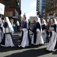 Black and white issue?: Members of the Sisters of Life march and pray during the 'Walk for Life' rally in San Francisco on Saturday, Jan. 25, 2014.  Thousands of abortion opponents marched through downtown San Francisco for the 10th annual 'Walk for Life West Coast.' | AP