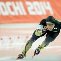 Not going as planned: Japan's Joji Kato competes in the men's speedskating 500-meter race on Monday at the Sochi Olympics. | AFP-JIJI