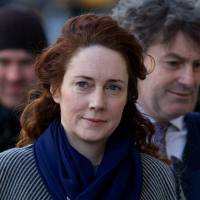 Former News International CEO Rebekah Brooks arrives at the Old Bailey court in London on Feb. 21. | AFP-JIJI