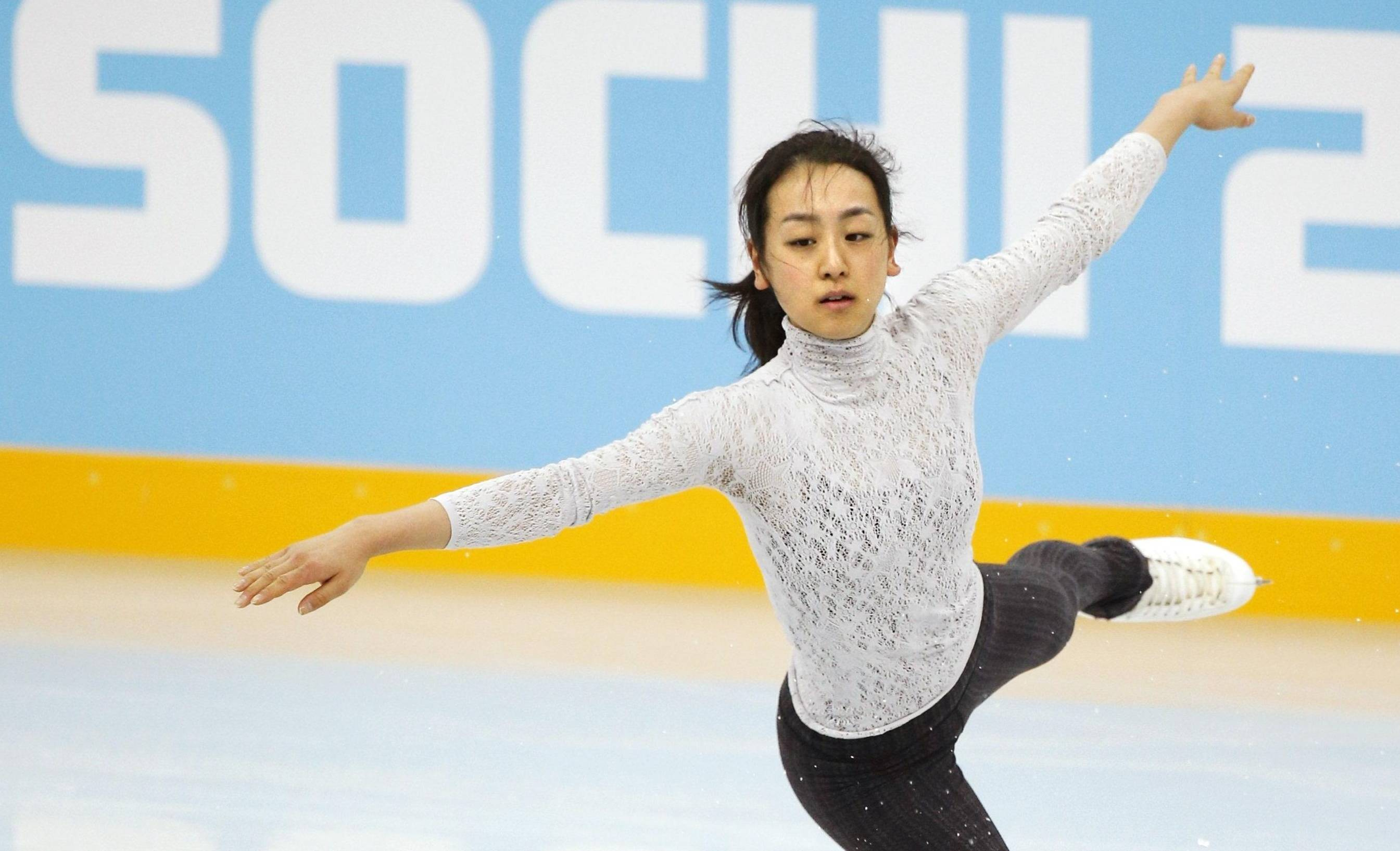 Getting closer: Mao Asada skates on the practice rink at the Sochi Olympics on Monday. | KYODO