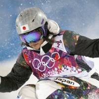 Practice pays off: Freestyle skier Aiko Uemura takes part in a practice session on Wednesday in Sochi, Russia. The freestyle moguls competition begins on Thursday. | KYODO