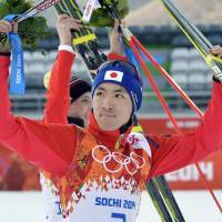 Successful day: Akito Watabe earns Japan's second silver medal at the Sochi Olympics, placing second in the Nordic combined normal hill competition on Wednesday. | KYODO
