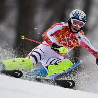 Ave Maria: Germany's Maria Hoefl-Riesch skis on her way to gold in the women's super-combined at the Sochi Olympics on Monday. | AFP-JIJI