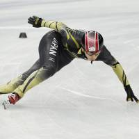 Preparation time: Satoshi Sakashita practices during a short track speedskating training session at the Iceberg Skating Palace on Wednesday. Canada's Charles Hamelin emerged as a speedskating star at the 2010 Vancouver Games, someone for Sakashita and others to keep an eye on. | AP