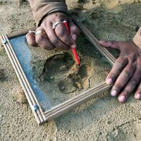 Paws for thought: Indian forest guard Deepak Shukla draws pugmarks on glass in a forest near the village of Barahpur, 120 km northeast of New Delhi, on Sunday. The same tiger is believed to have killed eight people in the northern states of Uttar Pradesh and Uttarakhand since Dec. 29, 2013. | AFP-JIJI