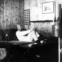 Home comforts: Jiro Shirasu smokes a cigarette while sitting on a couch at home in the late 1950s. | MASAKO CALLED HER HUSBAND 'A STRAIGHTFORWARD OBSTINATE SAMURAI.' KYODO