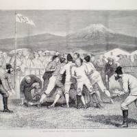 History in the making: An illustration published in April 1874 in The Graphic magazine depicting 'a foot-ball match between Englishmen and Scotchmen near the city of Yokohama in Japan.'h | COURTESY OF MIKE GALBRAIT