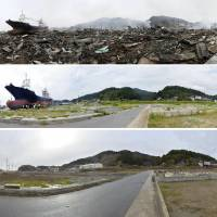 A series of photos show (from top) the same location in Kesennuma, Miyagi Prefecture: on March 15, 2011, Aug. 30, 2012, and Nov. 11 last year, after the Kyotoku Maru No. 18 was removed. | KYODO