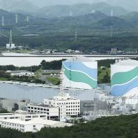 The Sendai nuclear plant run by Kyushu Electric Power Co. is seen in Satsumasendai, Kagoshima Prefecture, last June. | KYODO