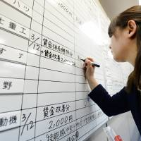 A staff member at the Tokyo headquarters of the Japan Council of Metalworkers' Unions records wage-hike agreements between labor and management Wednesday. | AFP-JIJI