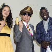 Talent time: Haruka Christine meets up with fellow TV personalities Dave Spector and Bobby Ologun.