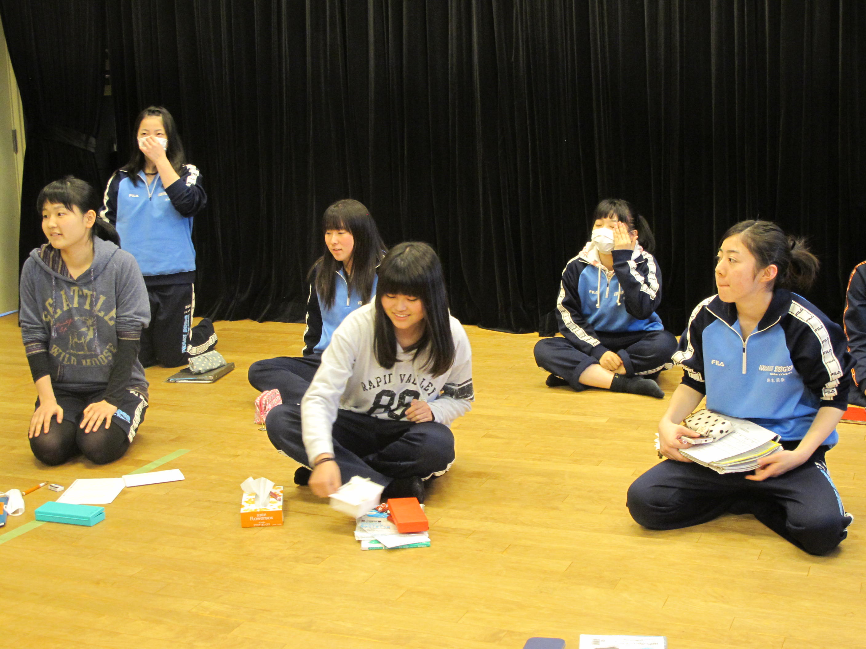 Ad libbing: Drama-class students at Iwaki Integrated High School in Fukushima Prefecture prepare for an exam in which they had to deliver a monologue about themselves. | NOBUKO TANAKA PHOTO