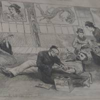 Tats life: An 1882 image from the Illustrated London News shows a foreigner being tattooed in Nagasaki. | COURTESY OF THE YOKOHAMA TATTOO MUSEUM
