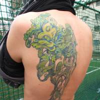 Adrian Storey, Filmmaker, 40-something (British): Tattoos are part of a tradition thousands of years old, so they ought to mean something. That's why I chose this Green Man, which has an English, pagan meaning. It was redrawn — almost line for line — from a picture by my father. It's my mark of respect for him, and it took 45 hours to complete.