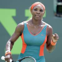 Still the one: Serena Williams reacts after her victory over Maria Sharapova in the Sony Open semifinals on Thursday. | AP