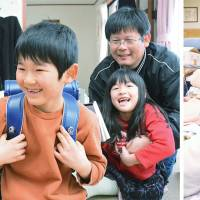 Left: Taro Omori (center), 6, smiles with his twin siblings, brother Kota and sister Ayaka, both 5, while wearing his new school bag in Koriyama, Fukushima Prefecture, on Feb. 23. He will enroll in an elementary school in the city this spring. Right: The three siblings play at an evacuation center in Iwaki on March 14, 2011, after fleeing their hometown of Tomioka following the disaster at the nearby Fukushima No. 1 nuclear power plant. | KYODO