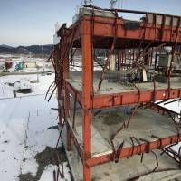 The devastated disaster preparedness center is one of the few structures left standing in Minamisanriku, Miyagi Prefecture, on Feb. 14. | KYODO