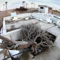 Foundations of houses that were washed away by the massive tsunami on March 11, 2011, lie abandoned in Wakabayashi Ward, Sendai, on Feb. 23. The disaster destroyed some 720 houses in the area, and the city plans to preserve some of the remains to keep the tragic memory alive. | KYODO