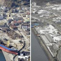 The ravaged shore of Kamaishi, Iwate Prefecture, is littered with debris and a large ship on April 10, 2011. Right: The same area, seen last month, has been cleaned up and is ready for reconstruction. Work on a new fish market is expected to begin later this year. | KYODO