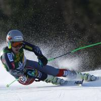 On the edge: American Ted Ligety competes during a World Cup giant slalom in Kranjska Gora, Slovenia, on Saturday. Ligety won in a time of 2 minutes, 30.80 seconds.   AP