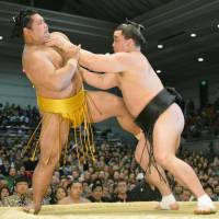 Whatever it takes: Yokozuna Harumafuji (right) seizes control against Shohozan to improve to 10-0 at the Spring Grand Sumo Tournament on Tuesday in Osaka. | KYODO