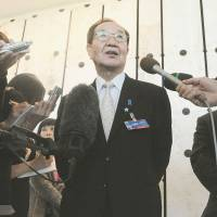 Shigeo Iizuka, the leader of a group of families of Japanese abductees, speaks to reporters Monday after attending a meeting of the U.N. Human Rights Council in Geneva. | KYODO