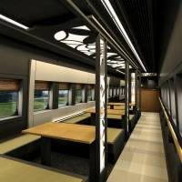An image photo shows the tatami-matted interior of a special sightseeing car that will be used on the Yamagata Shinkansen Line. | KYODO