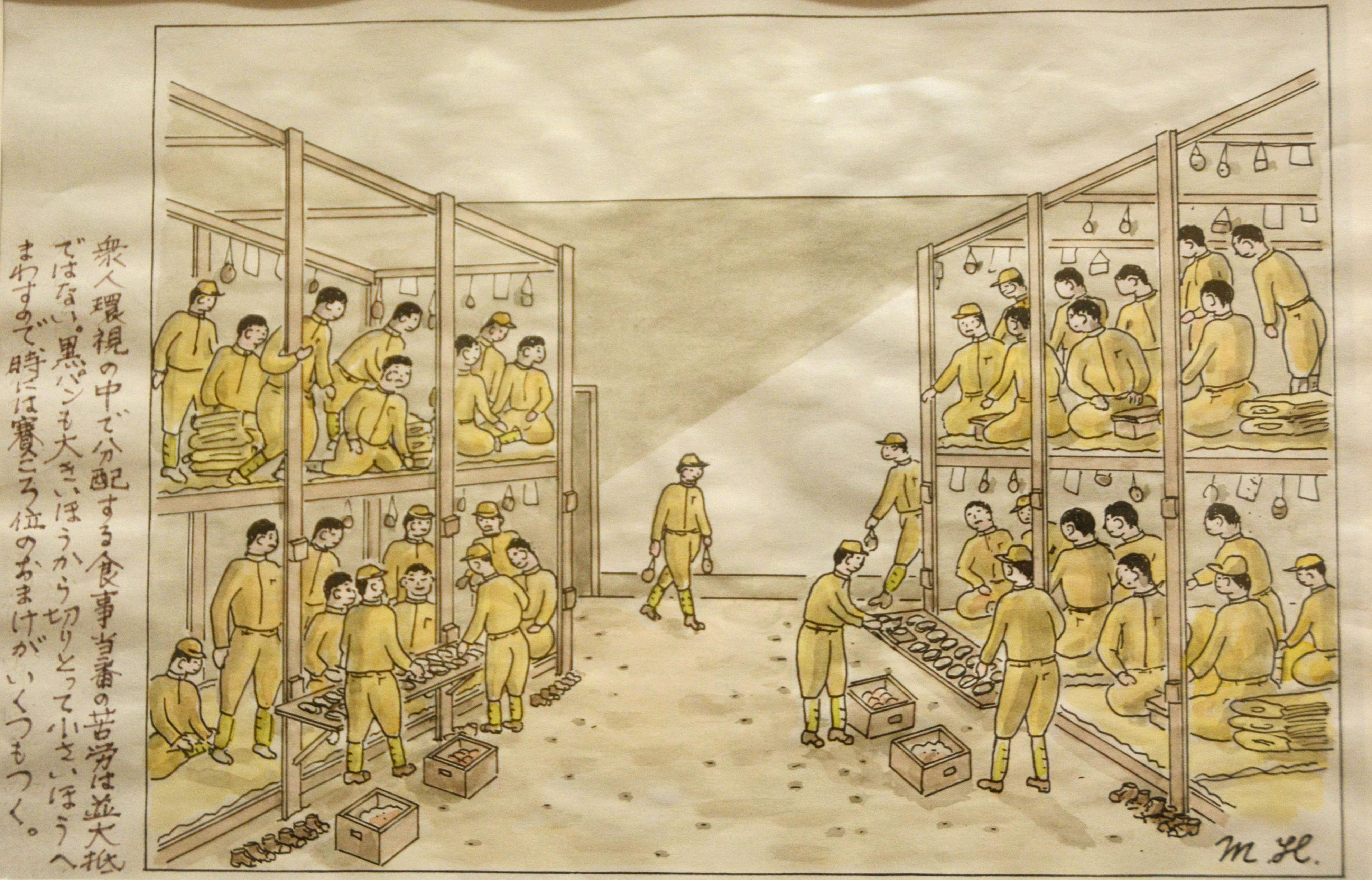 A drawing made by a prisoner of war detained in the Soviet Union is exhibited Tuesday at the Maizuru Repatriation Memorial Museum in the city of Maizuru, Kyoto Prefecture. | KYODO