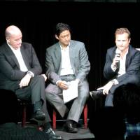 Expanding horizons: (from left), Daisuke Nakanishi, Repucom CEO Paul Smith, Hideyuki 'Andy' Hata and Danny Townsend, participate in a sports marketing seminar in Tokyo during the fall of 2013. | KAZ NAGATSUKA