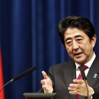 Prime Minister Shinzo Abe speaks during a news conference at his official residence on March 20. | REUTERS