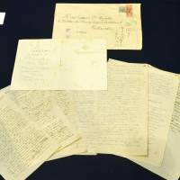 Manuscripts on Japan written by Albert Einstein during a visit here in 1922 are on display at Keio University in Tokyo.   KYODO