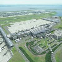 The newly expanded international terminal at Haneda airport in Tokyo is shown in an architect's illustration. Operations in the expanded areas, including new boarding gates, will get underway Sunday.  | TOKYO INTERNATIONAL AIR TERMINAL CORP.