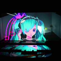 Virtual idol Hatsune Miku is projected onto a screen during a performance of 'The End' at Théâtre du Châtelet in Paris in November.   YKBX/CRYPTON FUTURE MEDIA INC./LOUIS VUITTON/KENSHU SHINTSUBO