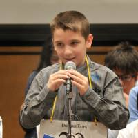 Ethan Mutter, 11, from Okinawa Christian Home Educator's Association, spells out a word.  | YOSHIAKI MIURA