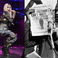 This photo combination shows hip-hop artist Nicki Minaj performing in New York in 2013 and civil rights activist Malcolm X in 1963. | AP
