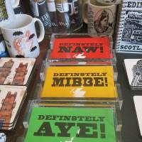 Paperweights indicating support, indecision and opposition ahead of this year's vote on Scotland's independence from the United Kingdom are seen in an Edinburgh shop Saturday.   AP