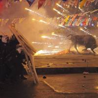 Riot police shield themselves as fireworks thrown by protesters explode next to the statue of a bull during an anti-government protest in Istanbul on Tuesday. | REUTERS