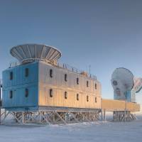 This photo from Harvard's Steffen Richter shows the Dark Sector Lab near the South Pole. It houses the BICEP2 telescope (left) and the South Pole Telescope (right). | AFP-JIJI