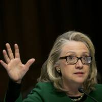 Former U.S. Secretary of State Hillary Rodham Clinton speaks during a January 2013 Senate Foreign Relations Committee hearing in Washington.   BLOOMBERG
