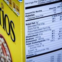 Nutritional information is posted on the side of a box of cereal. | AP