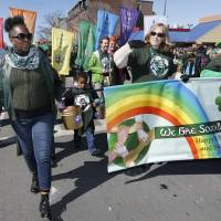A group calling for diversity marches in the annual St. Patrick's Day parade in South Boston on Sunday.   AP