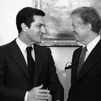 Spanish Prime Minister Adolfo Suarez (left) meets with U.S. President Jimmy Carter at the White House on Jan. 14, 1980.   AP
