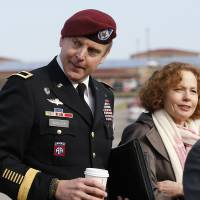 Brig. Gen. Jeffrey Sinclair, who admitted to inappropriate relationships with three subordinates, arrives at the courthouse with attorney Ellen Brotman for sentencing at Fort Bragg, North Carolina, on Thursday. | AP
