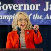 Arizona Gov. Jan Brewer announces that she will not seek a third term in Glendale on Wednesday. | AP