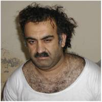 The alleged mastermind of the Sept. 11, 2001, attacks, Khalid Sheikh Mohammed is seen on March 1, 2003, shortly after his capture during a raid in Pakistan. Right: A photo purporting to show a man identified as Mohammed is seen in detention at Guantanamo Bay, Cuba. | AP