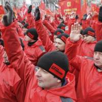 Around 15,000 people attend a 'Brotherhood and Civil Resistance March' rally in central Moscow on Saturday to express support to Russian-speakers in Crimea and Ukraine and to protest against the new authorities in Kiev. | REUTERS