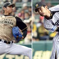 Dueling hurlers: Hokkaido Nippon Ham's Shohei Otani (left) and Hanshin's Shintaro Fujinami started Saturday's preseason game at Koshien Stadium. | OTANI HELD THE TIGERS TO TWO HITS AND A RUN OVER FIVE INNINGS IN THE FIGHTERS' 6-5 VICTORY.